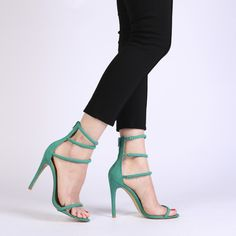 Nikki Strappy Stilettos in Green Faux Suede