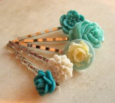 Turquoise Flower Hair Pins  Cabochon Bobby by PaganucciDesigns, $18.00