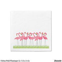 Cuban Pink Flamingos Paper Napkin March 16 2017 #junkydotcom #zazzle  3x