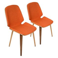 eb119cfb48be Lumisource Serena Mid-Century Modern Dining Chairs - Set of 2 Walnut    Orange -