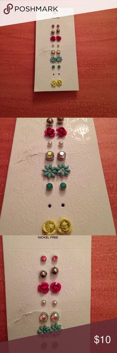 Pack of brand new earrings One pair of earrings is missing from the pack!!    None of them were used.  From pet and smoke free home!! Claire's Accessories Jewelry