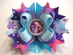 "FROZEN Elsa/Anna Handmade Stacked Hair Bow  Blue/Purple/Pink/White 5.0"" x 4.5"" #JOYJOEYKANGAROOHandmade"