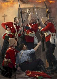 Zulu War 1879 - Privates Robert Jones, Henry Hook, William Jones and John Williams Fielding at Rorkes Drift Mission Station defend the hospital. All survived and would receive the Victoria Cross British Army Uniform, British Uniforms, British Soldier, Zulu, Military Art, Military History, Military Drawings, Historical Art, Napoleon