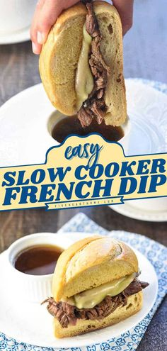 Bust out your slow cooker for this easy beef recipe! Served with au jus for dipping, these French Sandwiches are a family dinner idea everyone will love. Nothing beats coming home to this… Slow Cooker Recipes, Crockpot Recipes, Yummy Recipes, Dinner Recipes Easy Quick, Easy Meals, French Dip Au Jus, Au Jus Recipe, French Dip Recipes, Appetizer Recipes