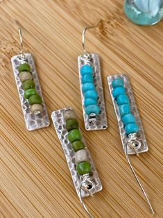 Rustic boho dangle earrings Ethnic style Tribal Matte Seed Beads on silver hammered bar from Red Moon Jewelry