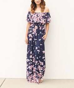 Another great find on #zulily! Navy Floral Off-Shoulder Maxi Dress #zulilyfinds