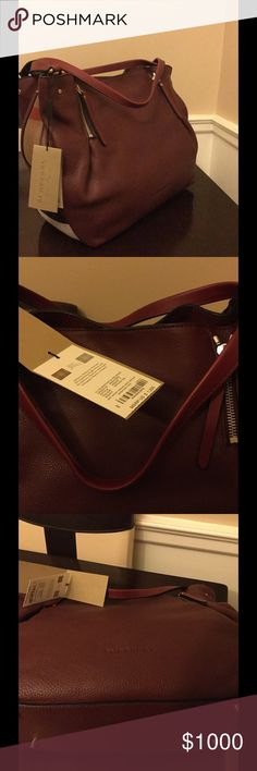 Burberry Brit Grainy Canvas Check Maidstone Tote Authentic New in Stores Burberry Tote. Burgundy Leather with Brit Grainy Canvas Check on the sides. Perfect for fall. Burberry Bags Totes