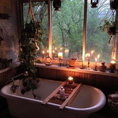 My dream bathroom. But with my cats , those candles would get knocked down in a heart beat. And that tub table would be there new standing post to eerily stare at me. And they'd eat all those plants. And then vomit them up. Yea, definitely a dream bathroom lol!!! Photo found via tumblr: please tag photo owner if known. Edit @Sacraluna IG photo @theriverhousefarm