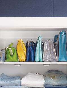 Use Book End Dividers To Keep Handbags From Falling Over So Your Closet  Stays Looking
