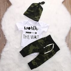 2017 Army Green Newborn Baby Girls Boys Clothes Rompers T-Shirt Long Sleeve - kids & baby stuff - Baby Clothes Baby Outfits, Outfits Niños, Outfits With Hats, Kids Outfits, Toddler Outfits, Newborn Outfits, Winter Outfits, Baby Boy Fashion, Kids Fashion
