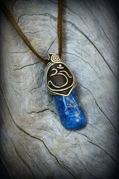 Lapis gemstone clay pendant Om symbol stone by PeaceElements