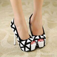 16d01f8e79c Dramatic Round Peep Toe Geometry White And Black Print Stiletto High Heel  Pumps.