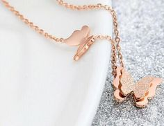 #newstock #christmaspresent #giftideas #love #shopping #jewelry - www.lorashjewels.com - Happy Shopping Stainless Steel Necklace, Steel Chain, Types Of Metal, Happy Shopping, Pearl Necklace, Butterfly, Rose Gold, Jewels, Pendant