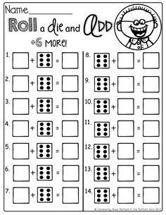 dice addition math game for kids free printable math. Black Bedroom Furniture Sets. Home Design Ideas