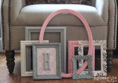 Baby Girl Nursery / Monogram Frame / Gallery Wall / Shabby Chic Decor / 7 Piece Distressed Picture Frame Set / Rose City Collection via Etsy