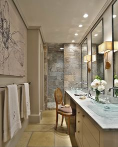 here i like the dark walnut cabinets for your vanity but i would keep your slate coloured tiles which are great looking master bathroom designed - Bathroom Ideas Long Narrow Space