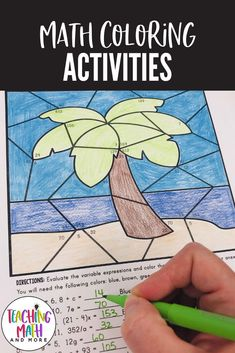 Perfect for any bulletin board or wall display of student work. Engage your middle school students in coloring expressions and equations this Summer. Perfect for grades 6, 7, 8. Students will color a beach scene and flip flops to reveal the correct answers. Download your middle school math activities today! 7th Grade Classroom, 7th Grade Math, Middle School Classroom, Math Lesson Plans, Math Lessons, Color Activities, Math Activities, Math Expressions, Math Projects