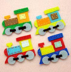 8 pcs - Handmade train felt appliques (G065-Ass). $10.40, via Etsy.