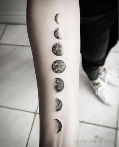 Moon phases done by devon at tattoo abyss. Hand Tattoos, Line Art Tattoos, Spine Tattoos, Body Art Tattoos, Small Tattoos, Sleeve Tattoos, Tatoos, Moon Tattoo Designs, Tattoo Designs And Meanings