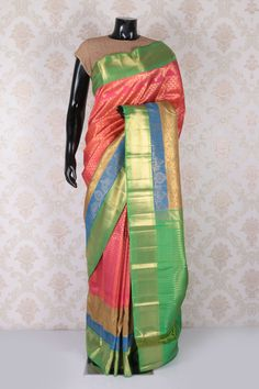 Fuscia #pink multicoloured pure kanjeevaram silk #charming saree with #gold multicoloured border -SR11636