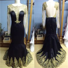 Long Gold Lace Sleeves Sheer Back Black Prom Dress Evening Gown with Gold Lace Hem Formal Occasion Dress (O033) by iViWeddingDress on Etsy