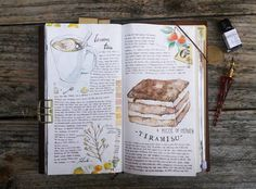 a small treat for myself and be calm...#whatsinmynotebook #tn #midoritravelersnotebook #travelersnotebook #midori #journal #artjournal #art #sketch #journaling #watercolor #tiramisu #dessert #treatformyself #plants #drawing #painting #washitape #liangfeng #classiky #倉敷意匠 #stationery #stationerylove #手帳 #文房具 #文具控