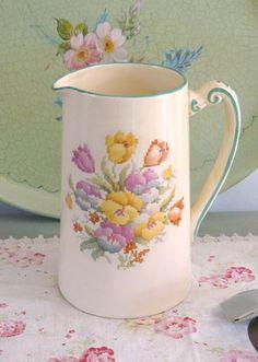 Cross stitch design jug- Vintage Lifestyle - www.vintagelifestyle.co.uk