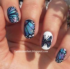 Fresh Deep Blue Nail Art Design For Winter Nail Art Designs, Butterfly Nail Designs, Butterfly Nail Art, Blue Butterfly, Butterfly Wings, Morpho Butterfly, Blue Morpho, Butterfly Pattern, Fabulous Nails
