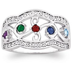 Mother's Family Birthstone Filigree Ring - Love the delicate scalloped edges on this ornate ring!