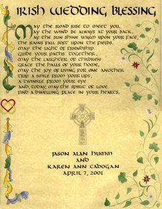 Irish Wedding Blessing. To be read as ceremony begins.