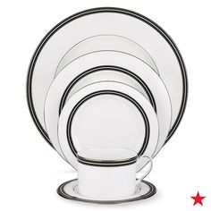 Classic and cute, but still totally modern, this Kate Spade New York dinnerware collection would make a perfect place setting for a black and white themed wedding. Style on a luxurious white table cloth and giant white floral centerpieces in black vases.