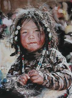 Watercolor portrait painting by Liu Yunsheng Watercolor Tips, Watercolor Portraits, Watercolour Painting, Painting & Drawing, Watercolours, Watercolor Techniques, Painting Techniques, Zebra Art, Guache