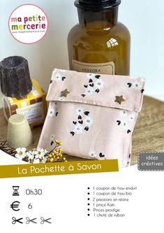 Easy Soap Pouch by Ma petite Mercerie Coin Couture, Couture Sewing, Creation Couture, Diy And Crafts, Pouch, Pattern, Diy Pochette, Trendy Mood, Savon Soap