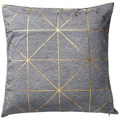 Bloomingville Diagonal Print Cushion - Gold - $73