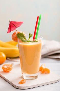 Mandľové smoothie s banánom a mandarínkou Horchata, Cantaloupe, Smoothies, Panna Cotta, Detox, Gluten Free, Pudding, Fruit, Ethnic Recipes