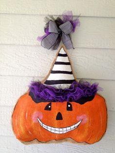 Items similar to Burlap Pumpkin Door Hanger on Etsy Holiday Fun, Holiday Ideas, Holiday Decor, Burlap Pumpkins, Halloween Door Hangers, Burlap Canvas, Pumpkin Door Hanger, Burlap Door Hangers, Burlap Crafts