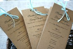Cute, rustic, wedding programs. Maybe use twine or raffia instead of ribbon to make them more rustic/natural looking.