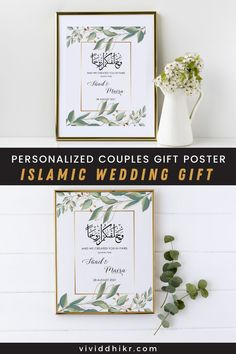 Botanical Gold Nikkah Poster | This botanical greenery and gold personalized couples poster is a great gift idea for a bridal shower, engagement, wedding gift, anniversary, or housewarming. This features the couple's names and wedding dates. It can be personalized for any special couple. This unique poster is the perfect handmade keepsake for any occasion and it is sure to add a personalized touch to any home. #PersonalizedPoster #NikkahPoster #GiftPoster #Poster #vividdhikr Cloud Icon, Personalized Posters, Unique Poster, Couple Gifts, Wedding Signs, House Warming, Greenery, Dates, Bridal Shower
