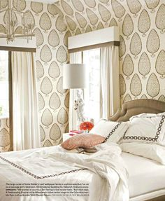 This traditional bedroom has a wonderful large scale wallpaper. It was featured in House Beautiful