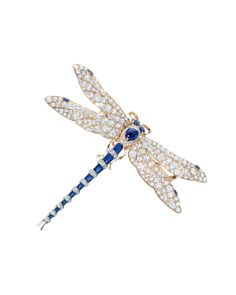 Tiffany & Co. archival dragonfly brooch with diamonds, sapphires, gold and silver, circa 1890-1900.