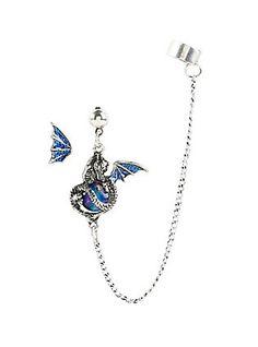 Blackheart Blue Glitter Dragon Ear Cuff Stud Hot Topic INR) ❤ liked on… Ear Cuff Jewelry, Cuff Earrings, Wing Earrings, Skull Jewelry, Pearl Earrings, Fantasy Jewelry, Gothic Jewelry, Western Jewelry, Hippie Jewelry