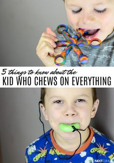 Why do kids chew on things? Here are 5 things to know about the kid who chews on everything with products from Chewigem Autism Activities, Autism Resources, Therapy Activities, Oral Motor Activities, Is My Child Autistic, Children With Autism, Autistic Toddler, Sensory Diet, Sensory Issues