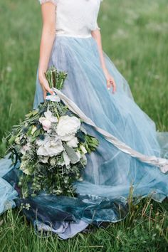 Wedding Dress with Blue Skirt | photography by http://heathernanphoto.com/