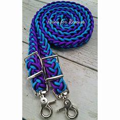 Turquoise, Black & Acid Purple Adjustable Riding Reins