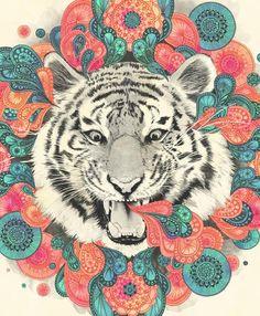 #illustration tigre couleurs