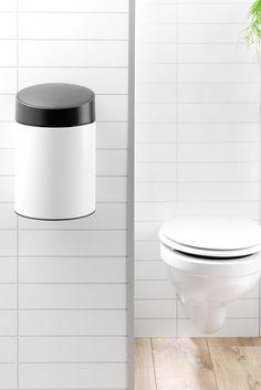 Slide 5L Bin by Brabantia Mounting Brackets, Cleaning, Bucket, Plastic, Smile, Bathroom, Stylish, Wall, Floor