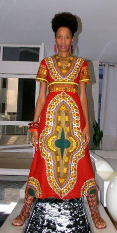 Royal Blue Empire Waist Dashiki Dress