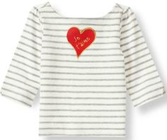 Je t'aime Heart Striped Tee from Janie & Jack for her. #valentinesday #giftsforgirls