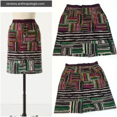 """Odille colorful spectrum map skirt Pencil skirt with front button placket, front slant pockets (still sewn shut). Super soft cotton with spandex (velveteen?). Measurements - ~19.5"""" waist and 20.25"""" length. Stock image from Anthropologie.com. Anthropologie Skirts Pencil"""