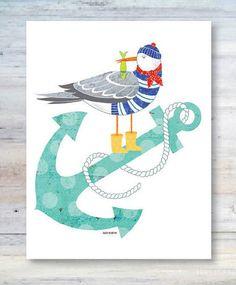 Note Card / Anchors Aweigh / Seagull, Anchor and Fish / Sailor / Cape Cod / Whimsical / Sea Life / Beach Art / All Occasion / Illustration Anchor Designs, Beach Art, Dremel, Anchors, Cape Cod, Diy Art, Note Cards, Sea Shells, Seaside